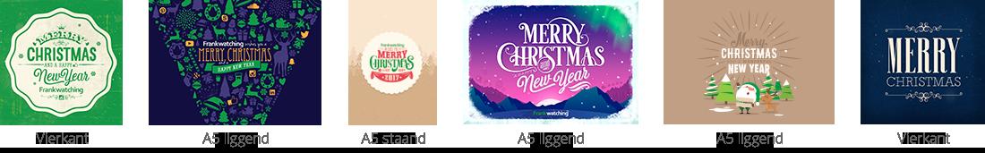 Verschillende soorten ontworpen kerstkaarten